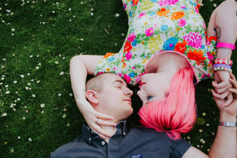 How To Find A Photography Website Template You'll Love: A Confetti Engagement with A Pink-Haired Bride
